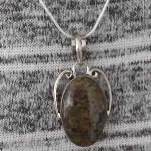 Jewelry - FRUIT JASPER 9.25 Sterling Silver Necklace 1.77""